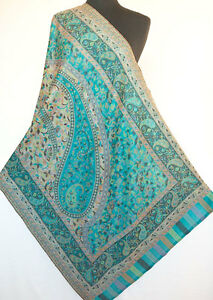 Genuine-Hand-Cut-Kani-Paisley-Wool-Jamavar-Shawl-Turquoise-Pashmina-Stole