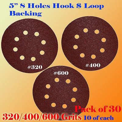 "5"" 8 Hole 320 400 600 Grit Sand Disc Random Orbit Sandpaper Hook & Loop Sander"