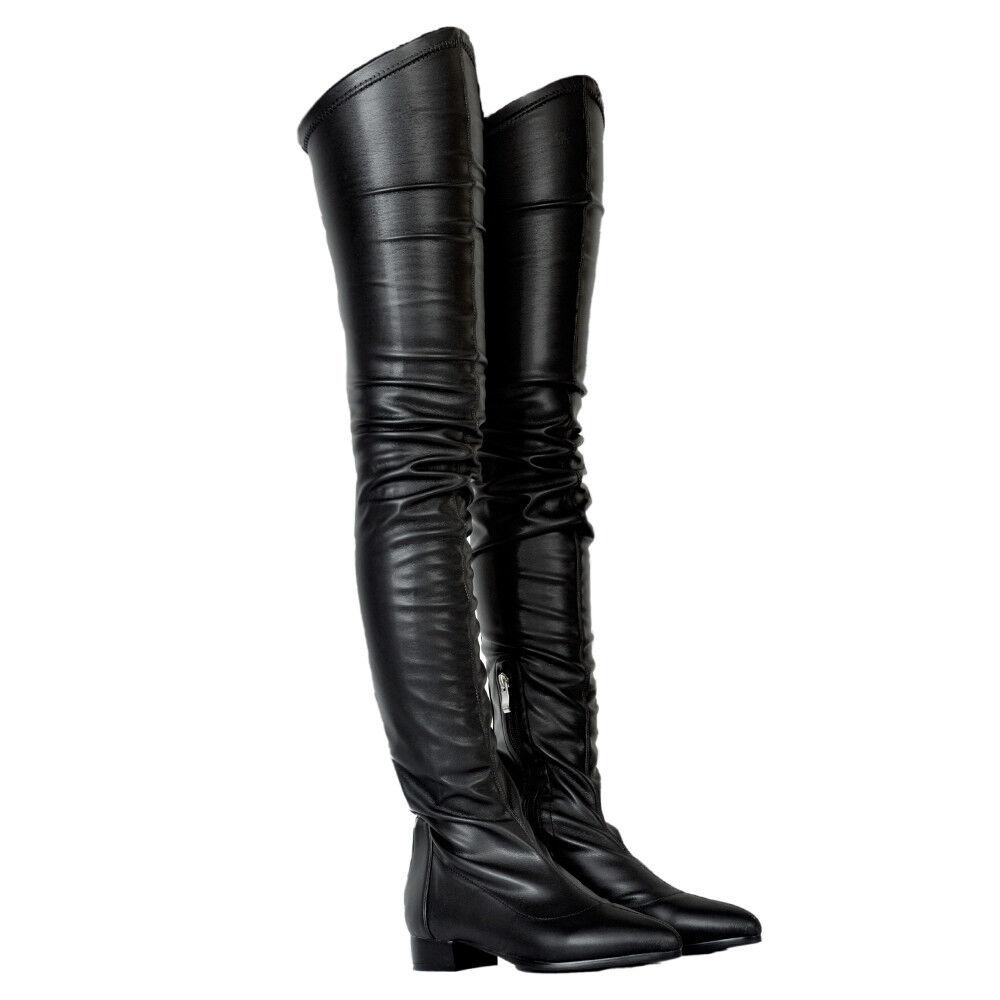 Fashion Flach Absatz Overkneestiefel Spitz Stiefel Zehe gr.34-47 Damen Stiefel Spitz 1da2ce