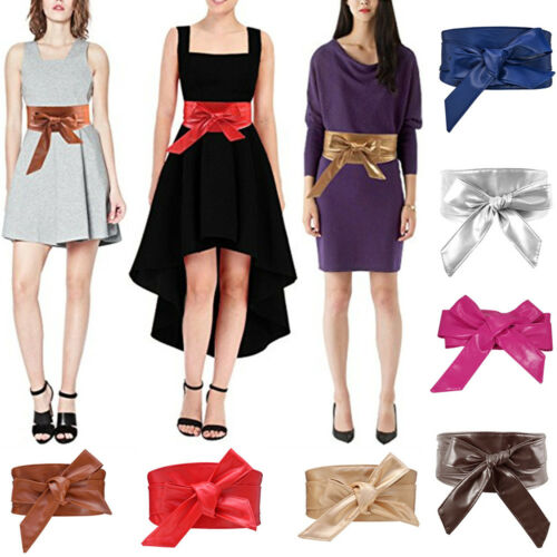 Hot Women Leather Belt Wrap Waistband PU Self Tie Bowknot Around Sash Wide Band