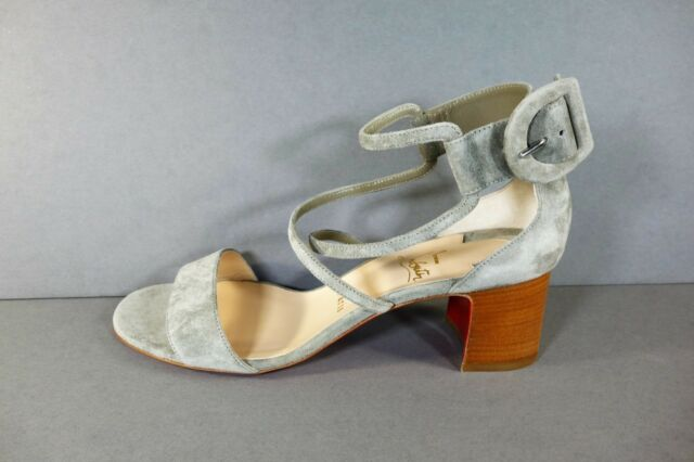 f93d3ae55e1 Louboutin 39.5 Choca 55 Suede Grey Chunky HEELS Ankle Strap Sandals Shoes
