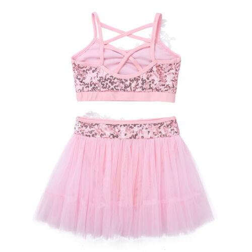 Kids Girls Figure Ice Skating Dress Sequin Twirling Dance Dress Costume 2PCS Set