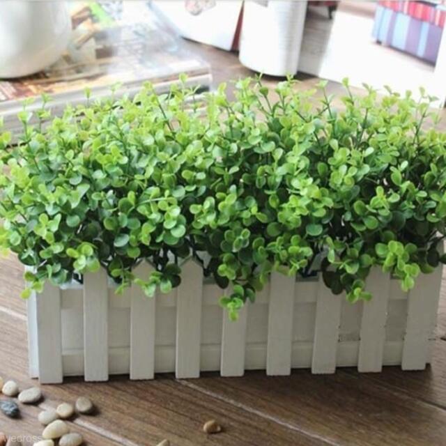 10pcs Yard Home Office Vivid Fake Artificial Plant Outdoor Eucalyptus Decoration