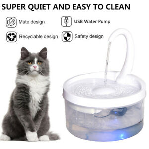 2L LED Automatic Electric Pet Water Fountain Dog Cat Drinking Dispenser Filter
