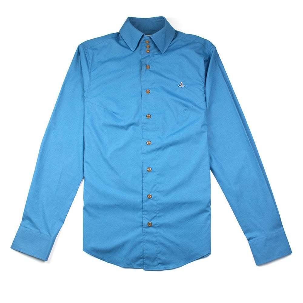 Vivienne Westwood Mens Long Sleeve 3 Button Shirt Turquoise     Qualität zuerst