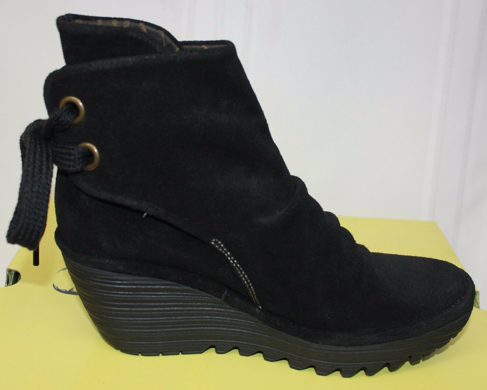 FLY LONDON Yama tie back booties Black Black Black Oil suede Boots New With Box 1a5642