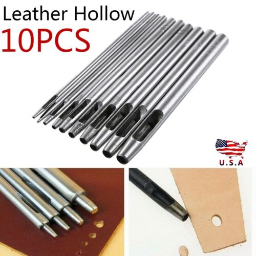 10Pcs Heavy Duty Leather Hollow Hole Punch Set 0.5-5mm DIY Craft Hand Tools US