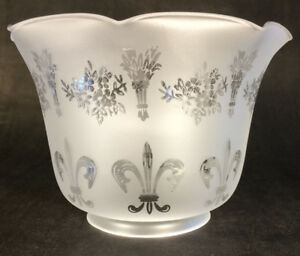 Details About 4 Fitter Frosted Fleur De Lis Etched Filigree Glass Gas Floor Lamp Shade 8544