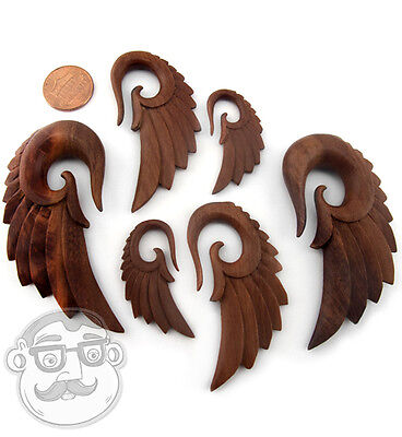 6G - 1 Inch Solid Saba Wood Plugs - New! 2 Sizes // Gauges Pair