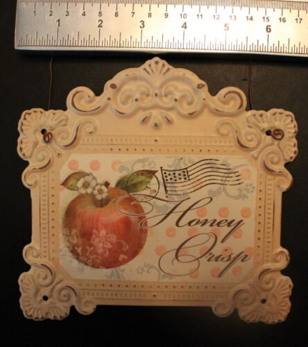 Apple Sign Picture Metal Honey Crisp Old French Country Decor Postcard
