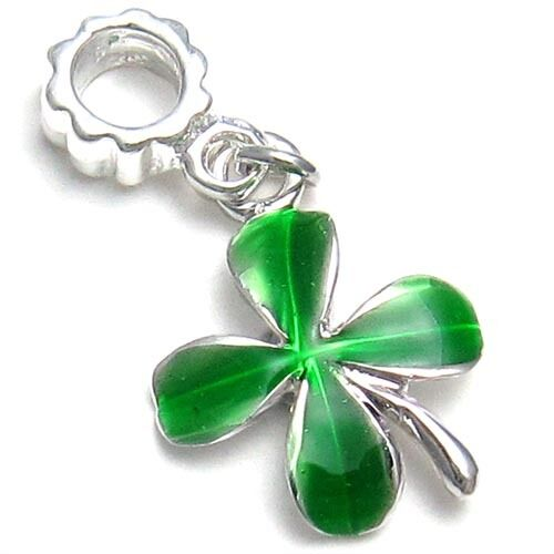 5 Pcs Green Leaves Lucky Clover Charm Beads Fit European Bracelet Necklace L#533