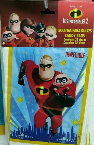25//50 pcs Incredibles 2 Birthday Party Favors Treat Loot Candy Bags tablecloth