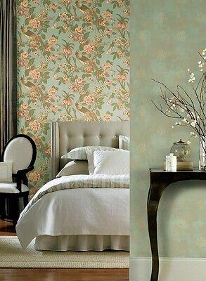 2 Roll LOT-Fabulous Designer Floral Light Blue Wallpaper Double Roll Bolts