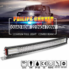 8D+ Quad-Row 720W PHILIPS 22Inch Curved LED Light Bar Flood Spot Driving vs 20""