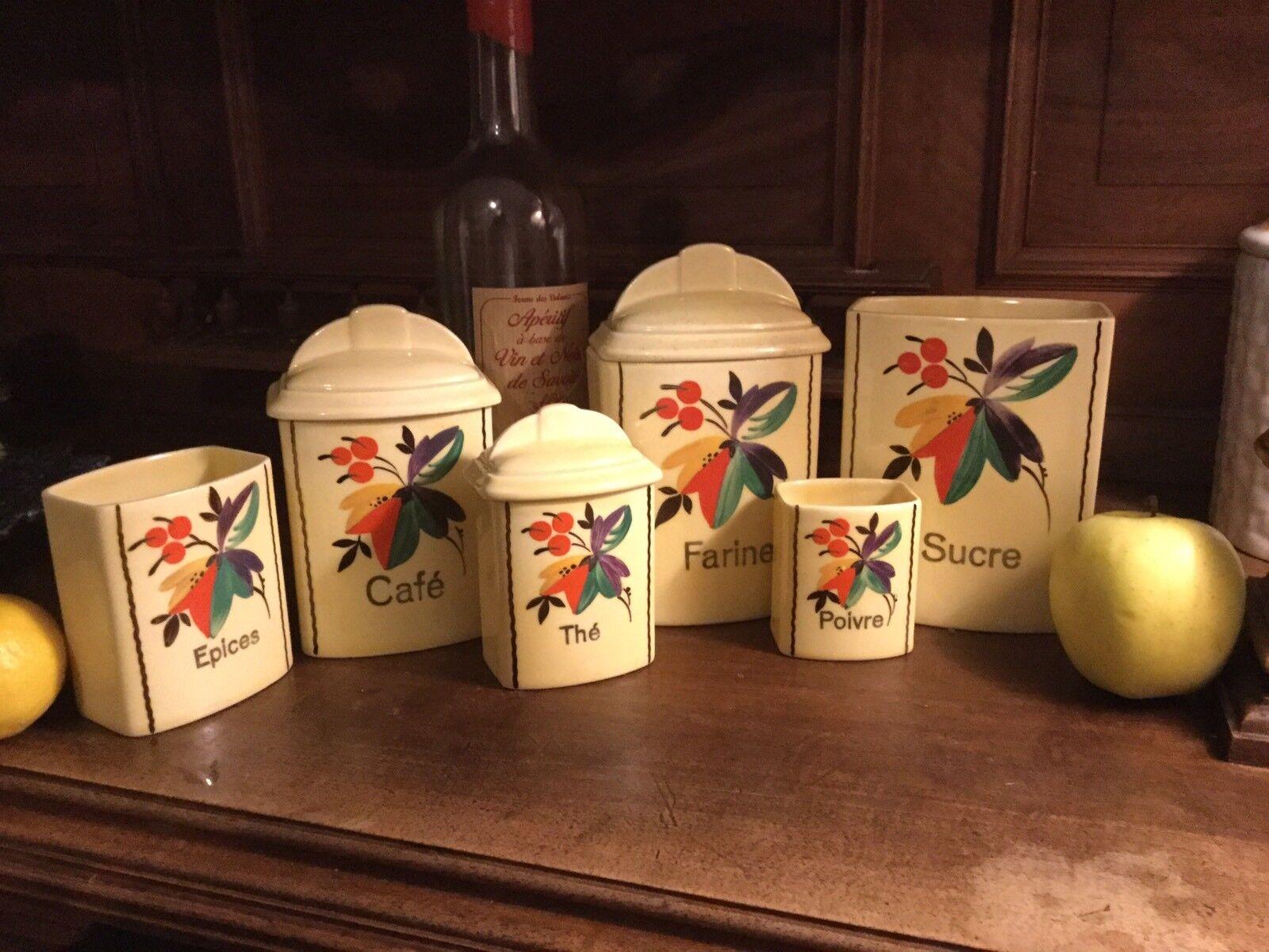Klassisch Französisch Keramik Porzellan Porzellan Porzellan Küche Kanister Set Topfwaren Retro Gelb dd27ee