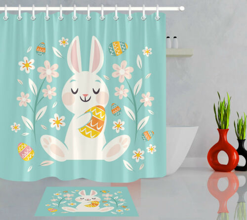Rabbit Colorful Eggs Happy Easter Bathroom Waterproof Fabric Shower Curtain Set