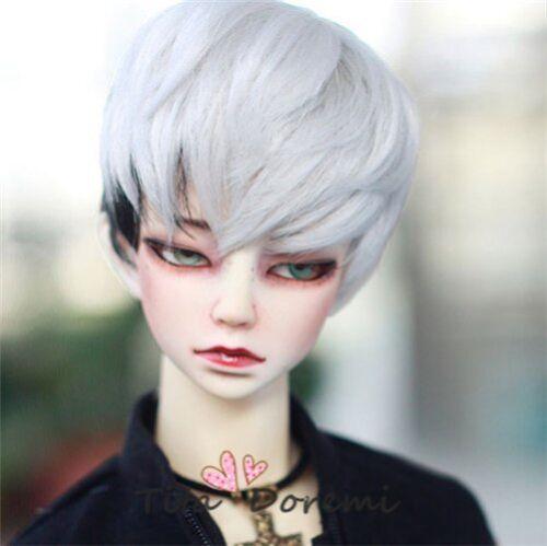 1 3 8-9 Bjd wig MSD MDD Luts Obitsu60 DD Doll silvery white mix black wig hair