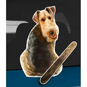 Airedale Terrier Dog Rear Car Window Sticker Wagging Tail To Fit On Wiper