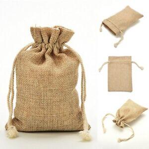 5pcs Drawstring Pouch Bags Wedding Hessian Burlap Jute Favour Party Gift Bags