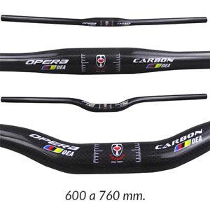 Manillar-de-Carbono-Plano-Doble-Altura-Bicicleta-de-Montana-MTB-BTT-600-a-760mm