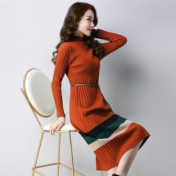 Womens Long Sleeve Waist Belt Elegant Sweater Slim Knitted Striped Dress A-46