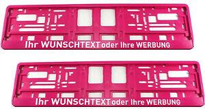 2-Stueck-Kennzeichenhalter-PINK-mit-WUNSCHTEXT-Werbung-Nummernschildhalter-Satz