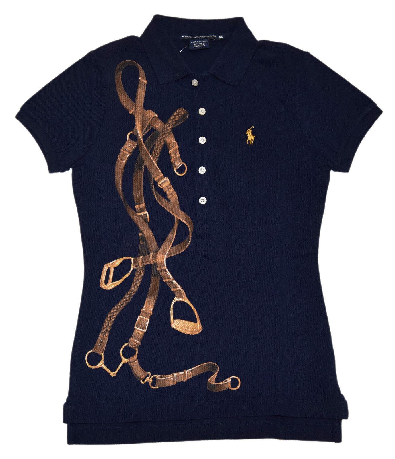 Polo Ralph Lauren Sport damen Short Sleeve Equestrian Shirt Navy Gold Small