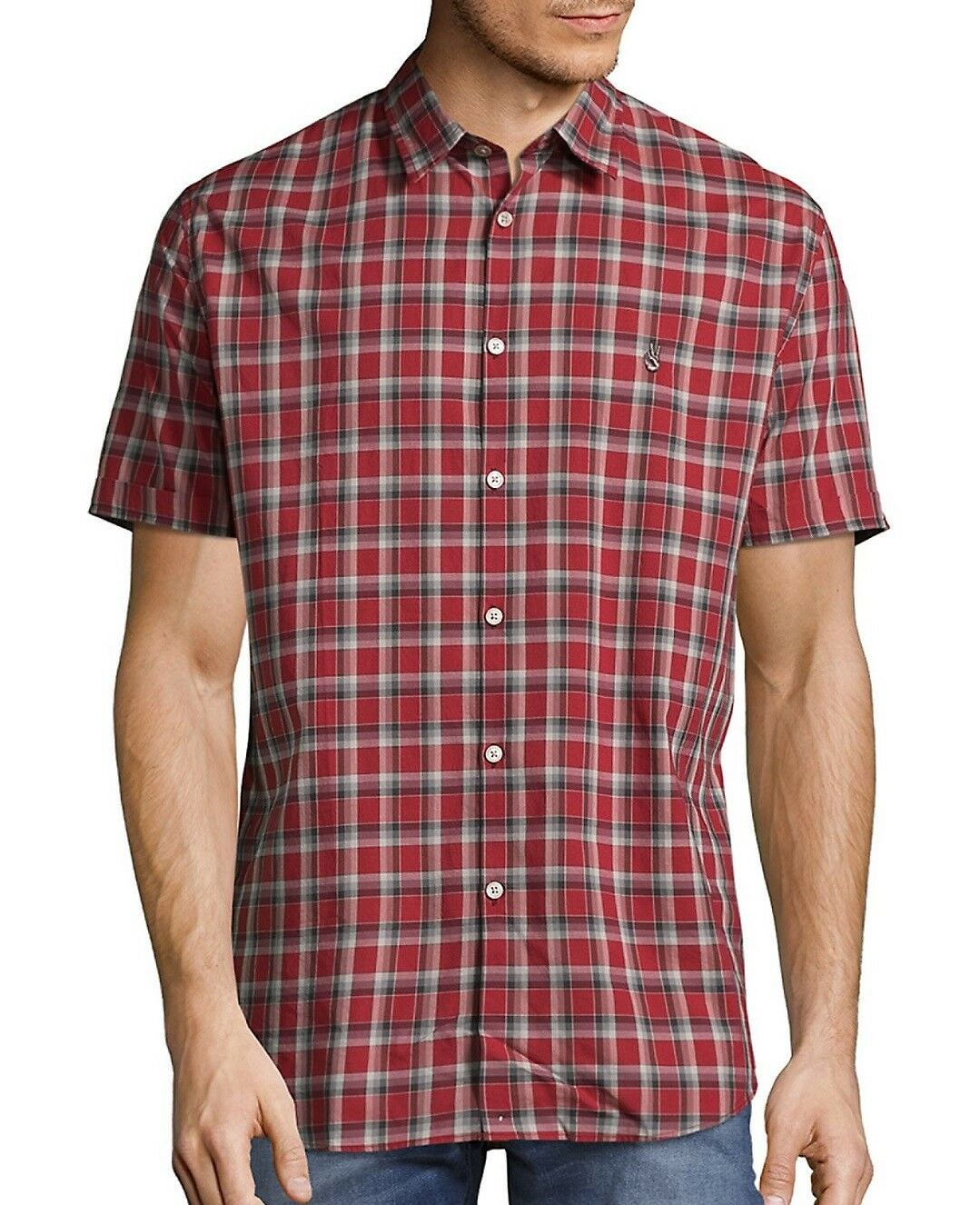 John Varvatos Star USA Men's Short Sleeve Peace Sign Plaid Shirt Red Clay XL