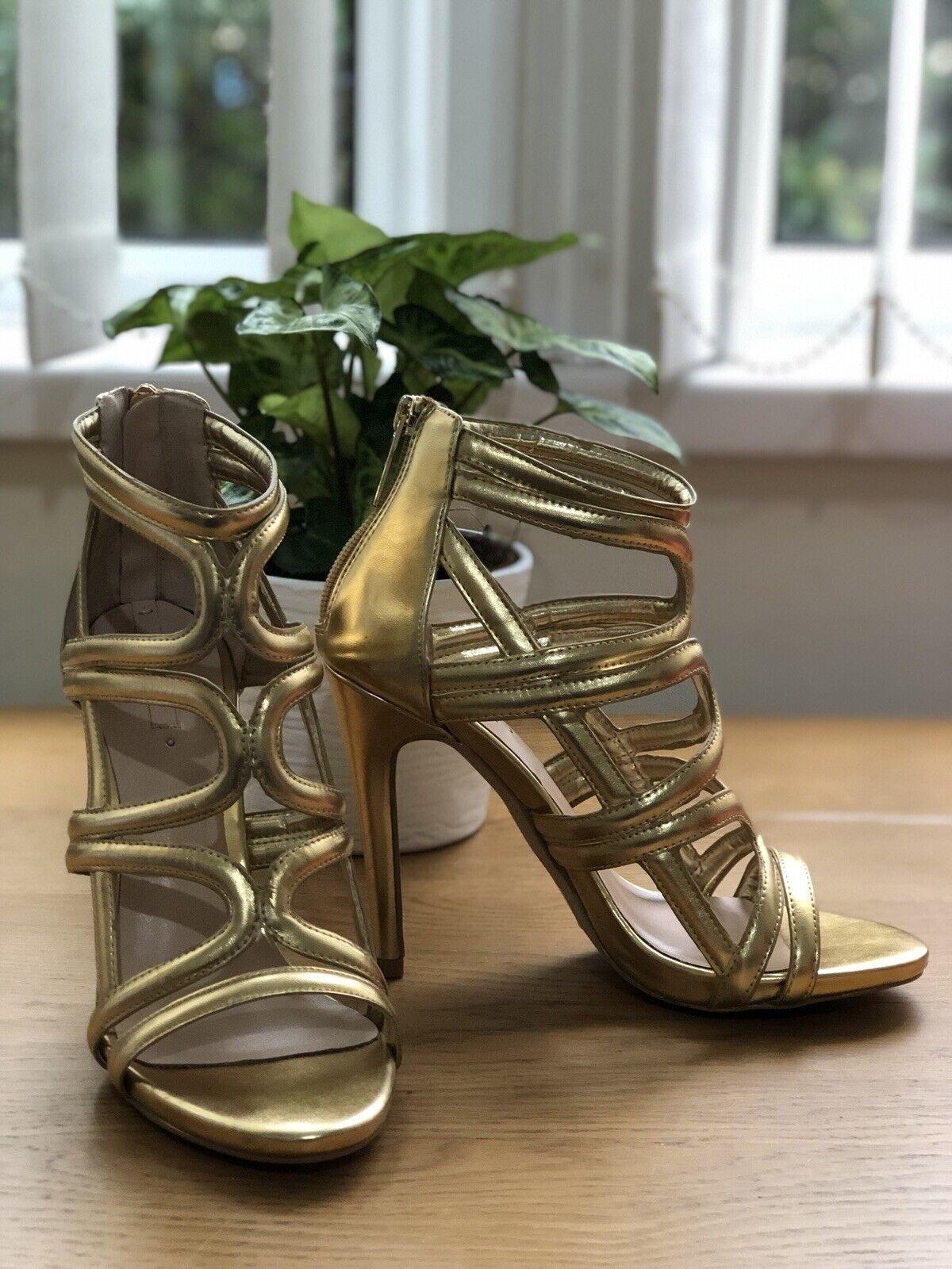 Aldo Or Lanière Stilettos Sandales chaussures Carminati mariage fête Taille 4 EUR 37