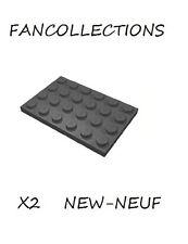 LEGO x 2 Dark Bluish Gray Plate 4x6-3032 NEUF