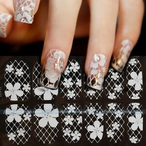 New-3D-White-Lace-Nail-Art-Tips-Sticker-Decal-Full-Wraps-Acrylic-DIY-Decoration