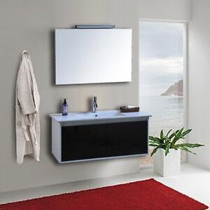Arredo Bagno Bianco E Nero.Dettagli Su Mobile Arredo Bagno Completo 100cm Bianco E Nero Lavabo Con Specchio Rubinetto