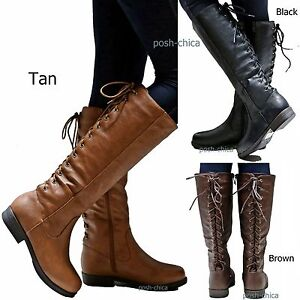 823783d2550 New Women GSra Adjustable Lace Knee High Western Riding Cowboy Boots ...