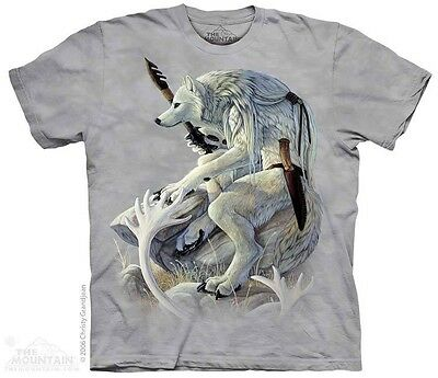 THE MOUNTAIN WHITE WOLF SPIRIT WATCHING GUARD KILLER FEARLESS T TEE SHIRT S-5XL