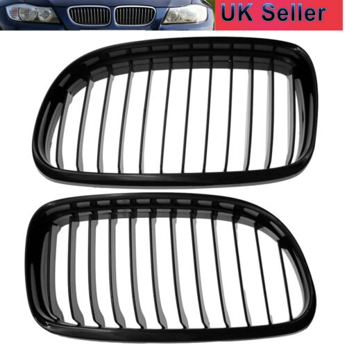 2x For BMW 3 Series E90 E91 Facelift 09-11 Gloss Black Front Kidney Grille Grill