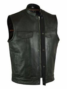 Men's SOA Soft Premium Leather Motorcycle Biker Club Concealed Carry Vest