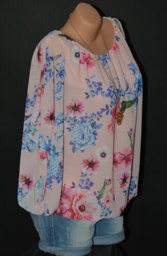 Italy Moda Tunika Shirt Top Bluse Ballon Chiffon Fledermaus Blumen 2 Lagig N°51