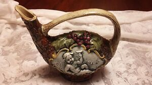 Vintage-Hand-Painted-Scenic-cherub-Glaze-Pottery-Pitcher-Italy-estate-find