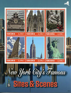 Tanzania-Stamps-2016-MNH-New-York-City-Sites-NY2016-Statue-of-Liberty-6v-M-S