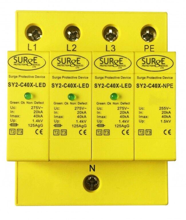 Dispositivo de oleada protección contra sobretensiones SY2-C40XLED oleada de – tipo 2+3, 3 fases, con LED 240350