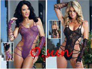 Women-Sexy-Lingerie-Lace-Wild-Hollow-Out-Bandage-Top-Dress-Babydoll-Black-Purple