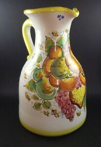 VTG-Pottery-Provincial-Country-Style-Pitcher-Jug-9-In-Tall-FREE-Delivery-UK