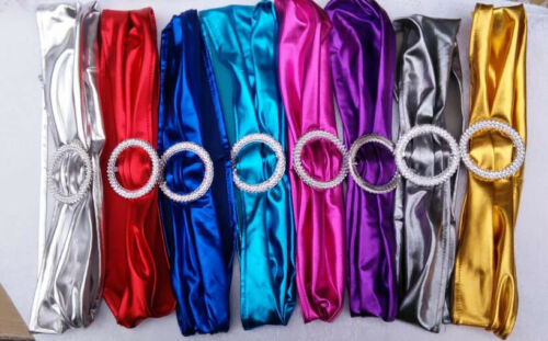 50 Metallic Spandex chair Band with Buckle Lycra Cover 15x34cm 2 Colors Stretch