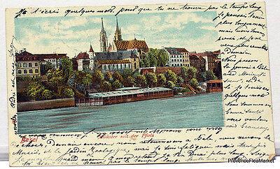 Gruss aus Basel Art Nouveau litho Schweiz Switzerland
