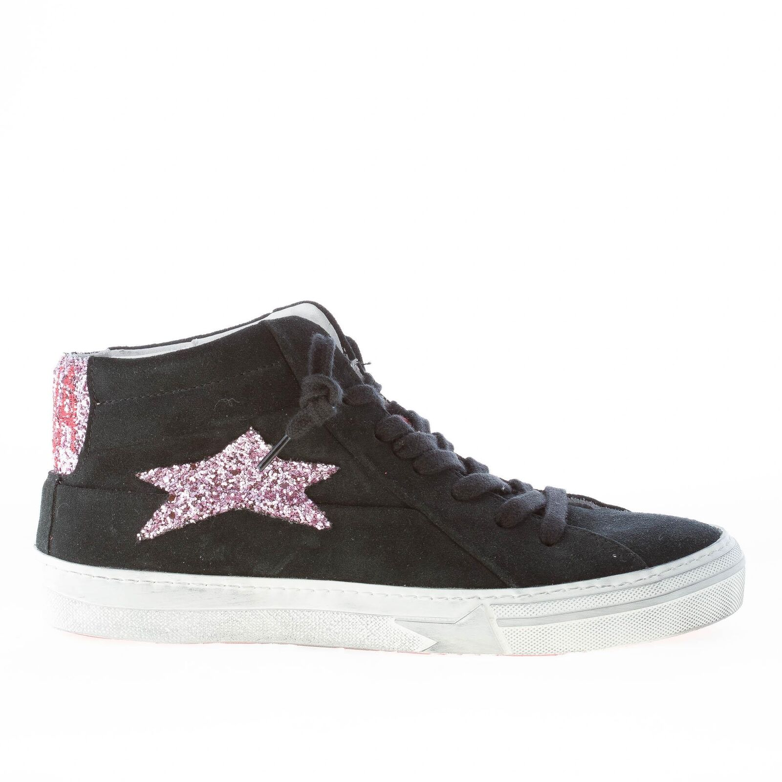 ISHIKAWA shoes femme Black suede Marti high sneaker with pink glitter star