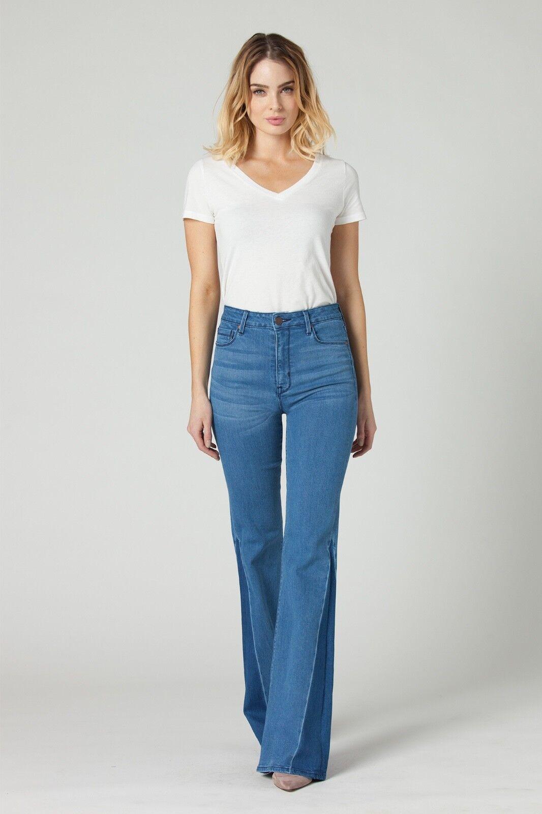 Parker Smith Vita Alta a Zampa Stretch Jeans Misura 10 30 Blu Nseam 34 U. S. A.