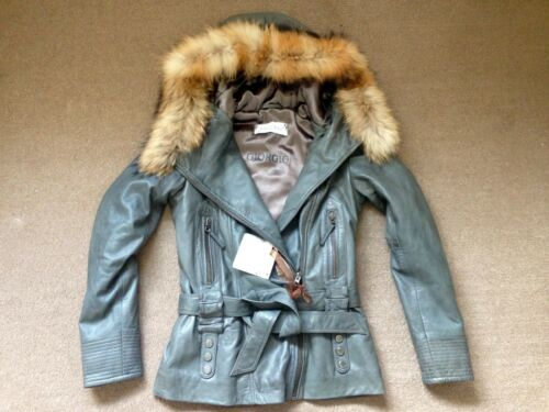 Yoko de 1300 8 10 Luxury 36 John S cuir gris 36 Nwt Manteau en Designer fourrure pFawqx