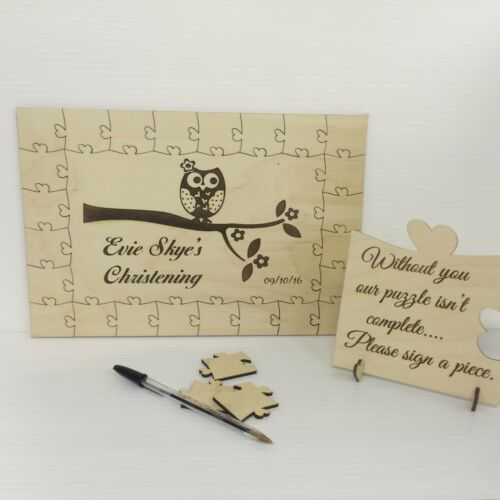 Personalised christening owl1 wooden jigsaw guest book puzzle keepsake gift
