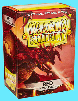 100 Standard Size Protector Sleeves! RED Dragon Shield Box New Sealed!!