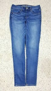 American-Eagle-Women-039-s-Jegging-Super-Stretch-Mid-Rise-Faded-Blue-Jeans-Size-4